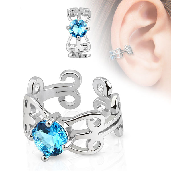 Blue Crystal Non Piercing Cuff Earring, Non-Piercing Cartilage Clip-On
