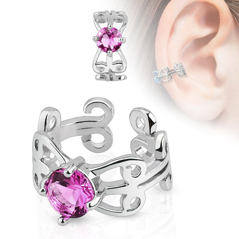 Carved Swirls Pink CZ Centered Cuff Earring
