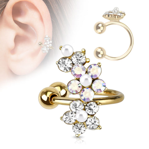 Gold Non-Piercing Crystal Flower Ear Cuff