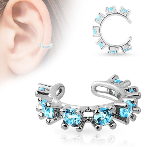 Blue CZ Rimmed Rhodium Plated Non Piercing Ear Cuff