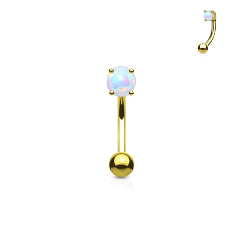 Gold Plated Curved Barbell, 3mm White Opal Eyebrow Ring
