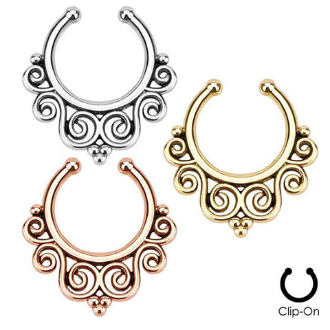 4 Colors Fake Tribal Swirls Septum Ring | Faux Anneau Septum 4 Couleurs Spirale Tribale