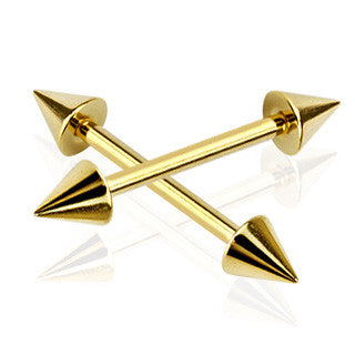 Gold Spike Head Barbell, 316L Surgical Steel Spike Nipple Piercing