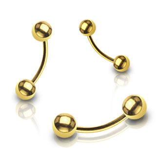 Gold Ball End Curved Barbell, Eyebrow, Rook, Daith, Tragus, Cartilage Barbell