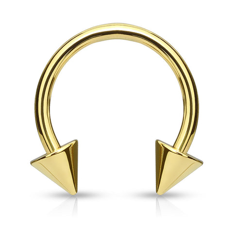 Gold Horseshoe Spike Circular Barbell, Septum, Lip, Helix, Eyebrow, U Shape