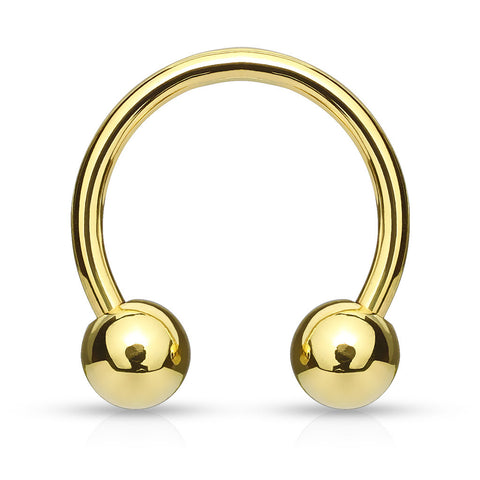 Gold Horseshoe Ring, 316L Surgical Steel Circular Barbell Piercing