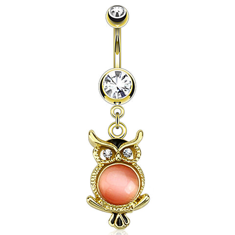 Owl Dangle Belly Ring, Cat's Eye Gemmed Navel Ring