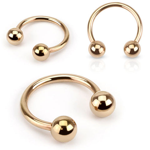 Rose Gold Horseshoe Ring, 316L Surgical Steel Circular Barbell Piercing