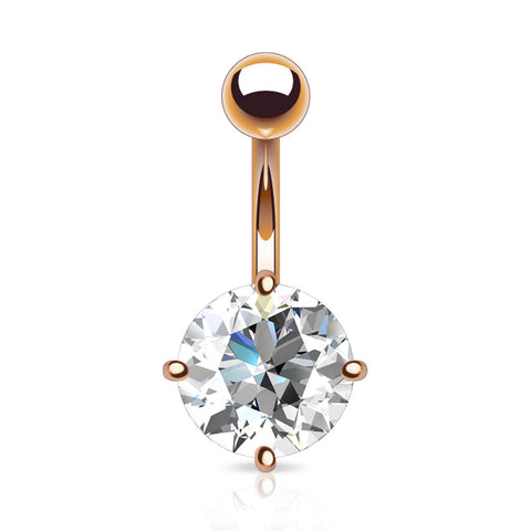 Rose Gold Round Crystal Belly Button Ring
