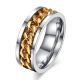 Gold Chain Ring, Stainless Steel Spinner Ring