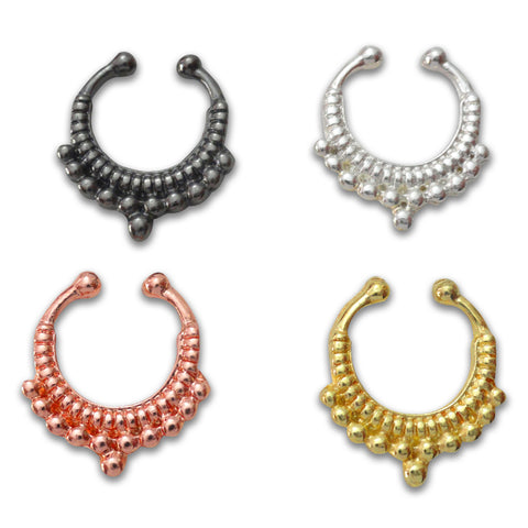 4 Colors Fake Tribal Septum Ring | Faux Anneau Septum 4 Couleurs Tribal