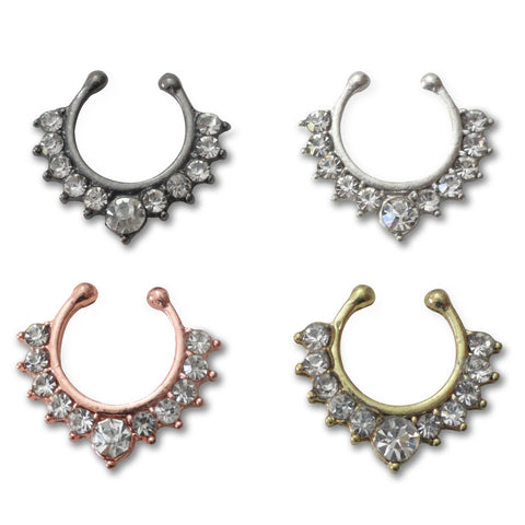 Crystal Fake Septum Hanger, Non Piercing Crystal Septum Ring