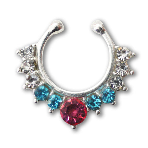 Silver Fake Septum Ring, Non Piercing Crystal Septum Ring