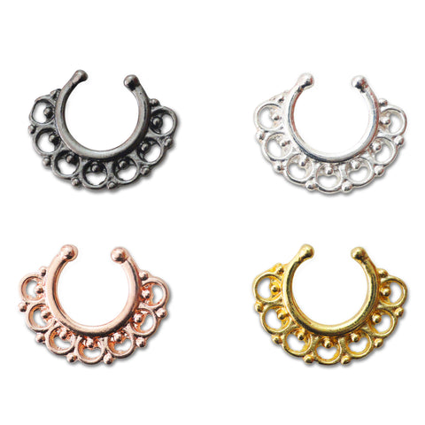 4 Colors Fake Flower Septum Ring | Faux Anneau Septum 4 Couleurs Fleur