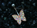 Rose Gold Non Dangle Butterfly Belly Button Ring, Paved AB Crystal Butterfly Navel Ring