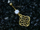 Gold Flower Knot Dangle Belly Button Ring
