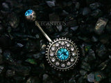 Multi Crystal Paved Vintage Shield Navel Ring