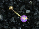 Purple Opal Belly Button Rings, Non Dangle Gold Belly Ring