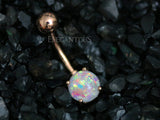 White Opal Belly Button Rings, Non Dangle Rose Gold Belly Ring