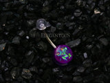 Purple Opal Glitter Set On Clear Acrylic Ball Belly Button Ring