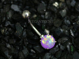 Purple Opal Belly Button Rings, Non Dangle Silver Belly Ring