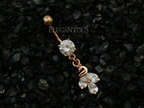 Cluster CZ Peacock Dangle Belly Button Ring