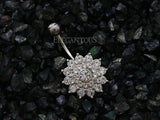 Silver Crystal Paved Dahlia Belly Button Ring