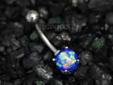 Blue Opal Belly Button Rings, Non Dangle Silver Belly Ring