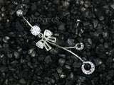 Silver Dia Cut Ribbon Dangle Belly Button Ring, Chain Navel Ring