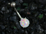 White Opal Belly Button Rings, Non Dangle Silver Belly Ring