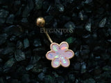 Rose Gold Opal Glitter Filled 6 Petal Flower Belly Button Ring