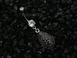 Teardrop With Black CZ Dangle Navel Ring