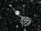 Silver Tree of Life Dangle Belly Button Ring