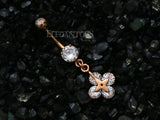 Rose Gold CZ Flower Navel Ring