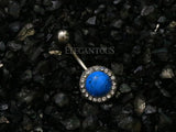 Turquoise Stone Gem Pave Round Belly Button Ring