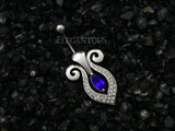 Dark Blue Gem Savior Crest Swivel Navel Ring