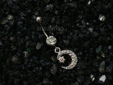 Crystal Paved Crescent Moon Mini Star Dangle Navel Ring