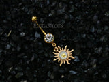 Gold Plated Sunburst Dangle Navel Ring