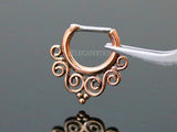 Rose Gold Tribal Swirls Septum /Daith Clicker Ring, 16G Surgical Steel Septum Piercing