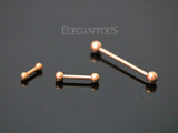 Rose Gold Plated Ball End Straight Barbell