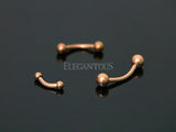 Rose Gold Ball End Curved Barbell, Eyebrow, Rook, Daith, Tragus, Cartilage Barbell