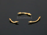 Gold Spike End Curved Barbell, Eyebrow, Rook, Daith, Tragus, Cartilage Barbell