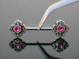 Pink CZ Centered Flower Nipple Barbell