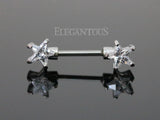 Star Ends Nipple Barbell, 316L Surgical Steel Star Nipple Piercing