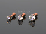 5mm Crystal Cartilage Helix Earring, Rose Gold Tragus Piercing Stud | Piercing Cartilage Helix Cristal 5mm, Tragus Or Rose