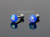 Blue Opal Cartilage Helix Tragus Barbell, Opal Sparkle Earring