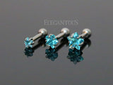3mm Blue Star Triple Helix Stud Cartilage Earring | Triple Helix Piercing Cartilage Etoile Bleue 3mm