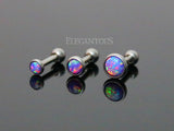 3mm Purple Opal Cartilage Helix Tragus Barbell, Opal Sparkle Cartilage Earring | Opale Violette 3mm Cartilage Helix Tragus Barbell, Opale Eclatante