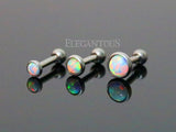 4mm White Opal Cartilage Helix Tragus Barbell, Opal Sparkle Cartilage Earring | Cartilage Helix Tragus Barbell Opale Blanche 4mm, Opale Eclatante
