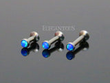 Set Of Three Fire Blue Opal Tragus Forward Helix Labret Monroe Lip Cartilage Bar Stud